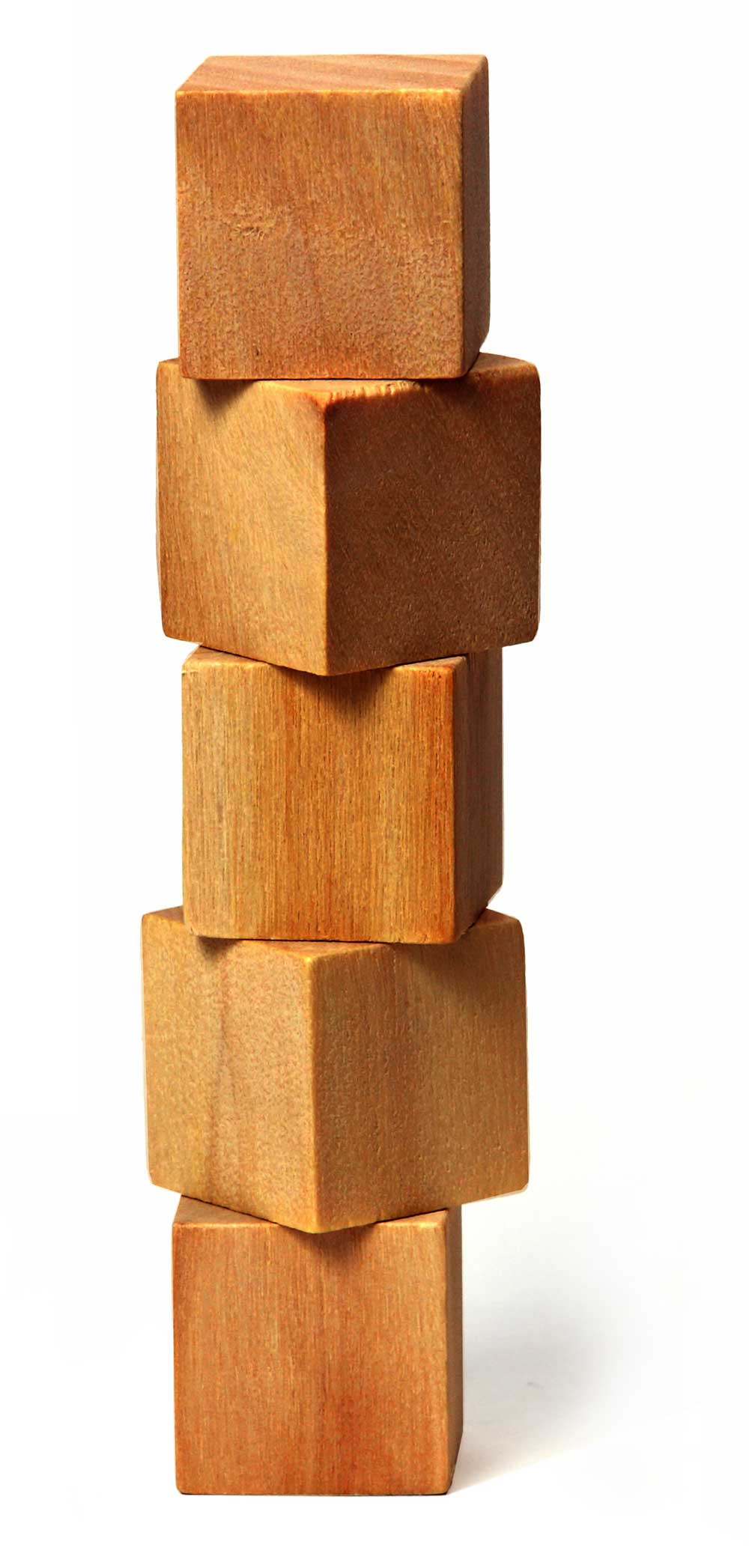 A stack of wooden blocks piled up high against a white background